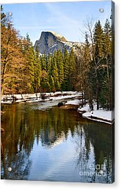 Winter View Of Half Dome In Yosemite National Park. Acrylic Print by Jamie Pham