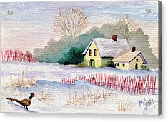 Snow Scenes In Watercolors Acrylic Print featuring the painting Winter Visitor by Marilyn Smith