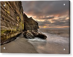 Wipeout Beach Cliffs Acrylic Print by Peter Tellone
