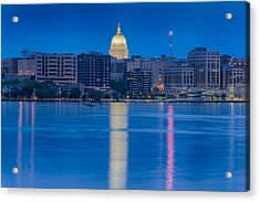 Wisconsin Capitol Reflection Acrylic Print by Sebastian Musial
