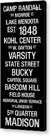 Wisconsin College Town Wall Art Acrylic Print by Replay Photos