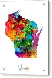 Wisconsin Map Acrylic Print by Michael Tompsett