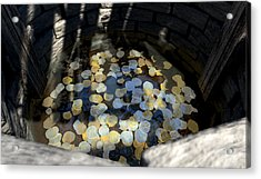 Wishing Well With Coins Perspective Acrylic Print by Allan Swart