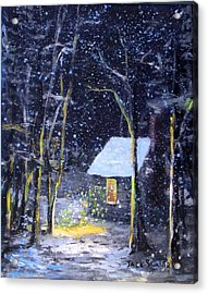 Wintery  Night At Thoreau's Cove Acrylic Print by Jack Skinner