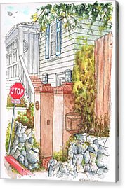 Two Pillars And A Mail Box In Mt. Olympus - Hollywood Hills - California Acrylic Print by Carlos G Groppa