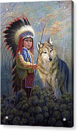 Wolf Boy Acrylic Print by Gregory Perillo