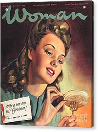 Woman 1945 1940s Uk People Eating Acrylic Print by The Advertising Archives