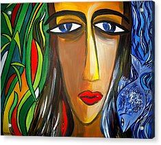 Woman And Nature Acrylic Print by Shakhenabat Kasana