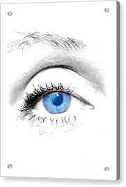 Woman Blue Eye Acrylic Print by Michal Bednarek