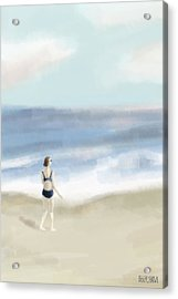 Woman By The Sea Acrylic Print by Beverly Brown Prints