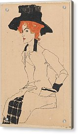 Woman Drawing Acrylic Print by Celestial Images