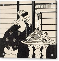 Woman In A Bookshop Acrylic Print by Aubrey Beardsley