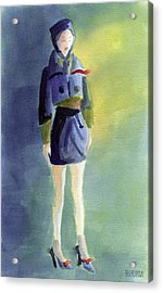 Woman In A Pillbox Hat Fashion Illustration Art Print Acrylic Print by Beverly Brown Prints
