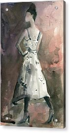 Woman In A White Dotted Dress Fashion Illustration Art Print Acrylic Print by Beverly Brown Prints