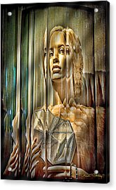 Woman In Glass Acrylic Print by Chuck Staley