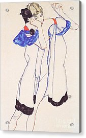 Woman In Housecoat Acrylic Print by Pg Reproductions