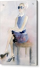 Woman In Plaid Skirt And Big Sunglasses Fashion Illustration Art Print Acrylic Print by Beverly Brown