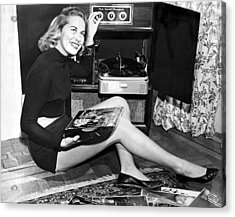 Woman Listening To Records Acrylic Print by Underwood Archives