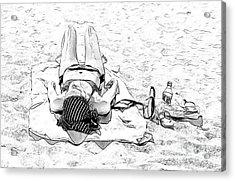 Woman On Beach Acrylic Print by Les Palenik