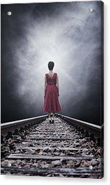 Woman On Tracks Acrylic Print by Joana Kruse