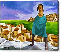 Woman On Village Steps Acrylic Print by William Cain