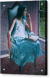 Woman Reading Acrylic Print by Herschel Pollard