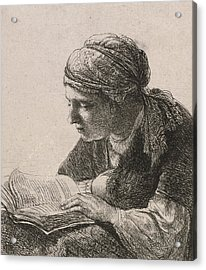 Woman Reading Acrylic Print by Rembrandt