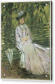 Woman Seated On A Bench Acrylic Print by Claude Monet