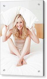 Woman Sitting On Bed In Underwear Acrylic Print by Ian Hooton