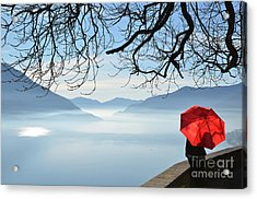 Woman Standing With A Red Umbrella Acrylic Print by Mats Silvan