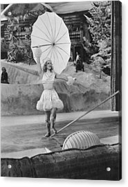 Woman Tightrope Walker Acrylic Print by Underwood Archives