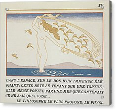 Woman Wading Through Water Acrylic Print by Georges Barbier