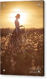 Woman With A Wicker Basket At Sunset Acrylic Print by Lee Avison