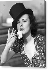 Woman With Carnation Kiss Acrylic Print by Underwood Archives