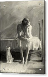 Woman With Cat Acrylic Print by H James Hoff