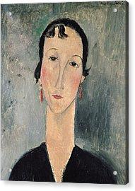 Woman With Earrings Acrylic Print by Amedeo Modigliani
