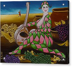 Woman With Mandolin Acrylic Print by William Cain