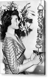 Woman With Shish-kebab Skewer Acrylic Print by Underwood Archives