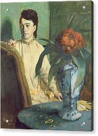 Woman With The Oriental Vase Acrylic Print by Edgar Degas