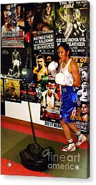 Woman's Boxing Champion Filipino American Ana Julaton Working Out Acrylic Print by Jim Fitzpatrick