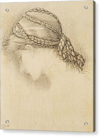 Womans Head, Detail From A Sketchbook Acrylic Print by Sir Edward Coley Burne-Jones