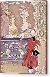 Women In A Theater Box Acrylic Print by Georges Barbier