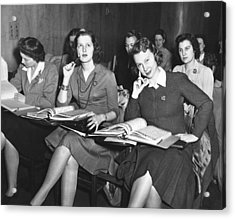 Women In Airline Class Acrylic Print by Underwood Archives