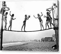 Women Play Beach Basketball Acrylic Print by Underwood Archives