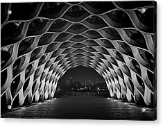 Wooden Archway With Chicago Skyline In Black And White Acrylic Print by Sven Brogren