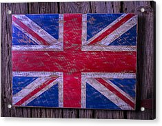 Wooden British Flag Acrylic Print by Garry Gay