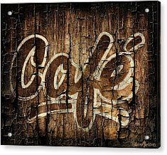 Wooden Cafe Sign Acrylic Print by Sheena Pike