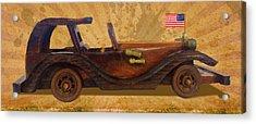 Wooden Car With U.s.flag Acrylic Print by Vijay Kumar