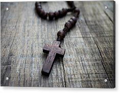 Wooden Rosary Acrylic Print by Aged Pixel