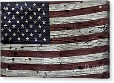 Wooden Textured Usa Flag3 Acrylic Print by John Stephens